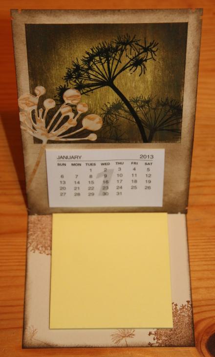Kalender Blume easel aufgestellt