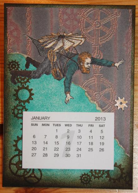 Kalender PostIt easel Steampunk Front